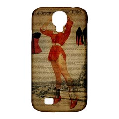 Vintage Newspaper Print Sexy Hot Gil Elvgren Pin Up Girl Paris Eiffel Tower Western Country Naughty  Samsung Galaxy S4 Classic Hardshell Case (pc+silicone) by chicelegantboutique