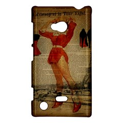 Vintage Newspaper Print Sexy Hot Gil Elvgren Pin Up Girl Paris Eiffel Tower Western Country Naughty  Nokia Lumia 720 Hardshell Case by chicelegantboutique