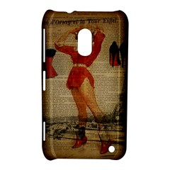 Vintage Newspaper Print Sexy Hot Gil Elvgren Pin Up Girl Paris Eiffel Tower Western Country Naughty  Nokia Lumia 620 Hardshell Case by chicelegantboutique
