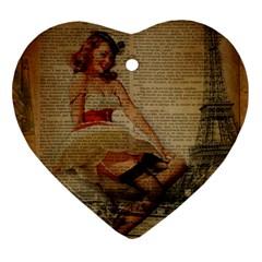 Cute Sweet Sailor Dress Vintage Newspaper Print Sexy Hot Gil Elvgren Pin Up Girl Paris Eiffel Tower Heart Ornament by chicelegantboutique