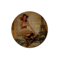 Cute Sweet Sailor Dress Vintage Newspaper Print Sexy Hot Gil Elvgren Pin Up Girl Paris Eiffel Tower Drink Coasters 4 Pack (round) by chicelegantboutique