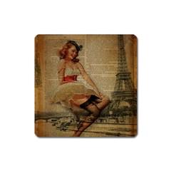 Cute Sweet Sailor Dress Vintage Newspaper Print Sexy Hot Gil Elvgren Pin Up Girl Paris Eiffel Tower Magnet (square) by chicelegantboutique