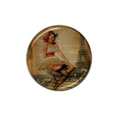 Cute Sweet Sailor Dress Vintage Newspaper Print Sexy Hot Gil Elvgren Pin Up Girl Paris Eiffel Tower Golf Ball Marker 10 Pack (for Hat Clip) by chicelegantboutique