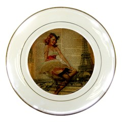 Cute Sweet Sailor Dress Vintage Newspaper Print Sexy Hot Gil Elvgren Pin Up Girl Paris Eiffel Tower Porcelain Display Plate by chicelegantboutique