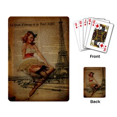 Cute Sweet Sailor Dress Vintage Newspaper Print Sexy Hot Gil Elvgren Pin Up Girl Paris Eiffel Tower Playing Cards Single Design by chicelegantboutique