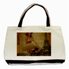 Cute Sweet Sailor Dress Vintage Newspaper Print Sexy Hot Gil Elvgren Pin Up Girl Paris Eiffel Tower Classic Tote Bag by chicelegantboutique