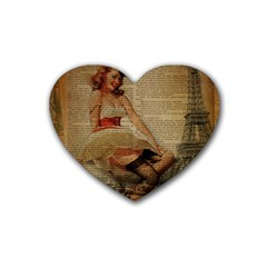 Cute Sweet Sailor Dress Vintage Newspaper Print Sexy Hot Gil Elvgren Pin Up Girl Paris Eiffel Tower Drink Coasters (heart) by chicelegantboutique
