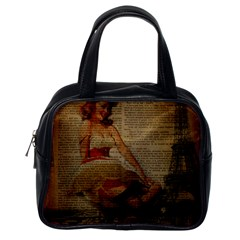 Cute Sweet Sailor Dress Vintage Newspaper Print Sexy Hot Gil Elvgren Pin Up Girl Paris Eiffel Tower Classic Handbag (one Side) by chicelegantboutique