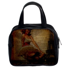 Cute Sweet Sailor Dress Vintage Newspaper Print Sexy Hot Gil Elvgren Pin Up Girl Paris Eiffel Tower Classic Handbag (two Sides) by chicelegantboutique