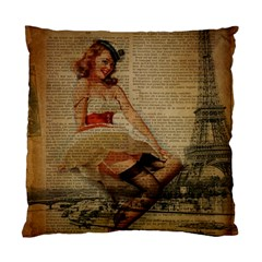 Cute Sweet Sailor Dress Vintage Newspaper Print Sexy Hot Gil Elvgren Pin Up Girl Paris Eiffel Tower Cushion Case (single Sided)  by chicelegantboutique