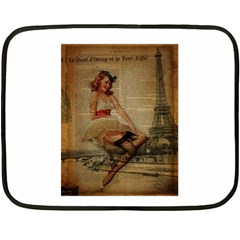 Cute Sweet Sailor Dress Vintage Newspaper Print Sexy Hot Gil Elvgren Pin Up Girl Paris Eiffel Tower Mini Fleece Blanket (two Sided) by chicelegantboutique