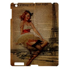 Cute Sweet Sailor Dress Vintage Newspaper Print Sexy Hot Gil Elvgren Pin Up Girl Paris Eiffel Tower Apple Ipad 3/4 Hardshell Case by chicelegantboutique