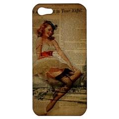 Cute Sweet Sailor Dress Vintage Newspaper Print Sexy Hot Gil Elvgren Pin Up Girl Paris Eiffel Tower Apple Iphone 5 Hardshell Case by chicelegantboutique