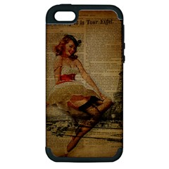 Cute Sweet Sailor Dress Vintage Newspaper Print Sexy Hot Gil Elvgren Pin Up Girl Paris Eiffel Tower Apple Iphone 5 Hardshell Case (pc+silicone) by chicelegantboutique