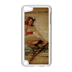 Cute Sweet Sailor Dress Vintage Newspaper Print Sexy Hot Gil Elvgren Pin Up Girl Paris Eiffel Tower Apple Ipod Touch 5 Case (white) by chicelegantboutique