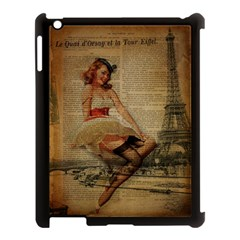 Cute Sweet Sailor Dress Vintage Newspaper Print Sexy Hot Gil Elvgren Pin Up Girl Paris Eiffel Tower Apple Ipad 3/4 Case (black) by chicelegantboutique