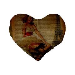 Cute Sweet Sailor Dress Vintage Newspaper Print Sexy Hot Gil Elvgren Pin Up Girl Paris Eiffel Tower 16  Premium Heart Shape Cushion  by chicelegantboutique