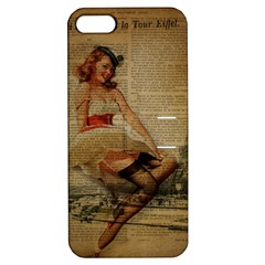 Cute Sweet Sailor Dress Vintage Newspaper Print Sexy Hot Gil Elvgren Pin Up Girl Paris Eiffel Tower Apple Iphone 5 Hardshell Case With Stand by chicelegantboutique