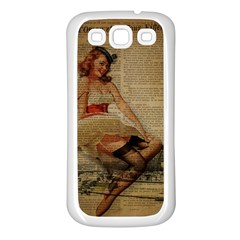 Cute Sweet Sailor Dress Vintage Newspaper Print Sexy Hot Gil Elvgren Pin Up Girl Paris Eiffel Tower Samsung Galaxy S3 Back Case (white) by chicelegantboutique