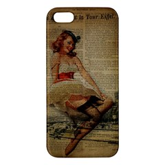 Cute Sweet Sailor Dress Vintage Newspaper Print Sexy Hot Gil Elvgren Pin Up Girl Paris Eiffel Tower Iphone 5s Premium Hardshell Case by chicelegantboutique