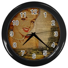 Yellow Dress Blonde Beauty   Wall Clock (black) by chicelegantboutique