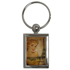 Yellow Dress Blonde Beauty   Key Chain (rectangle) by chicelegantboutique