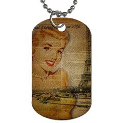 Yellow Dress Blonde Beauty   Dog Tag (two Sided)  by chicelegantboutique