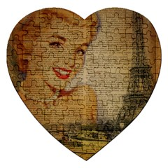 Yellow Dress Blonde Beauty   Jigsaw Puzzle (heart) by chicelegantboutique