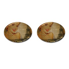 Yellow Dress Blonde Beauty   Cufflinks (oval) by chicelegantboutique