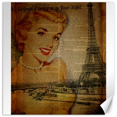 Yellow Dress Blonde Beauty   Canvas 20  X 20  (unframed) by chicelegantboutique