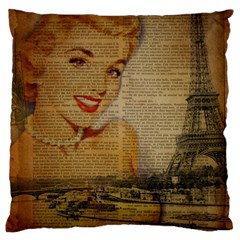 Yellow Dress Blonde Beauty   Large Cushion Case (Two Sided)