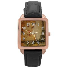 Yellow Dress Blonde Beauty   Rose Gold Leather Watch  by chicelegantboutique