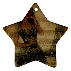 Retro Telephone Lady Vintage Newspaper Print Pin Up Girl Paris Eiffel Tower Star Ornament by chicelegantboutique