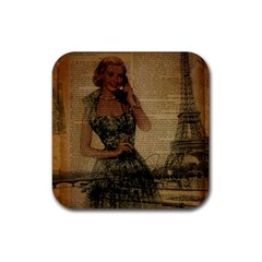 Retro Telephone Lady Vintage Newspaper Print Pin Up Girl Paris Eiffel Tower Drink Coaster (square) by chicelegantboutique