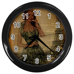 Retro Telephone Lady Vintage Newspaper Print Pin Up Girl Paris Eiffel Tower Wall Clock (black) by chicelegantboutique