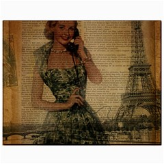 Retro Telephone Lady Vintage Newspaper Print Pin Up Girl Paris Eiffel Tower Canvas 11  X 14  (unframed) by chicelegantboutique