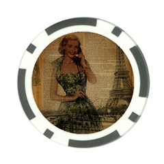 Retro Telephone Lady Vintage Newspaper Print Pin Up Girl Paris Eiffel Tower Poker Chip 10 Pack by chicelegantboutique
