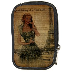Retro Telephone Lady Vintage Newspaper Print Pin Up Girl Paris Eiffel Tower Compact Camera Leather Case by chicelegantboutique