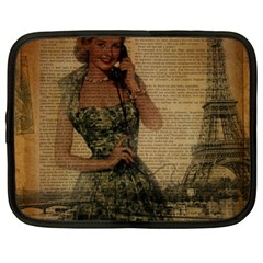 Retro Telephone Lady Vintage Newspaper Print Pin Up Girl Paris Eiffel Tower Netbook Case (xl) by chicelegantboutique