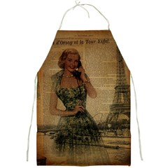 Retro Telephone Lady Vintage Newspaper Print Pin Up Girl Paris Eiffel Tower Apron by chicelegantboutique
