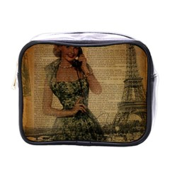 Retro Telephone Lady Vintage Newspaper Print Pin Up Girl Paris Eiffel Tower Mini Travel Toiletry Bag (one Side) by chicelegantboutique