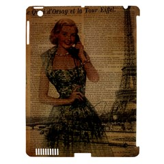 Retro Telephone Lady Vintage Newspaper Print Pin Up Girl Paris Eiffel Tower Apple Ipad 3/4 Hardshell Case (compatible With Smart Cover) by chicelegantboutique