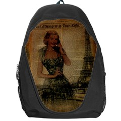 Retro Telephone Lady Vintage Newspaper Print Pin Up Girl Paris Eiffel Tower Backpack Bag by chicelegantboutique
