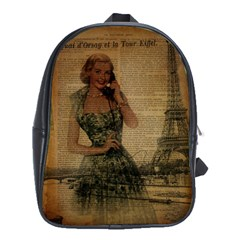 Retro Telephone Lady Vintage Newspaper Print Pin Up Girl Paris Eiffel Tower School Bag (xl) by chicelegantboutique