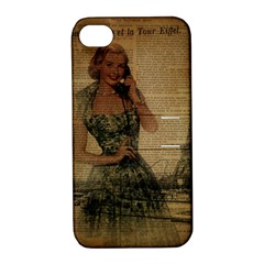 Retro Telephone Lady Vintage Newspaper Print Pin Up Girl Paris Eiffel Tower Apple Iphone 4/4s Hardshell Case With Stand by chicelegantboutique