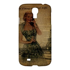 Retro Telephone Lady Vintage Newspaper Print Pin Up Girl Paris Eiffel Tower Samsung Galaxy S4 I9500/i9505 Hardshell Case by chicelegantboutique