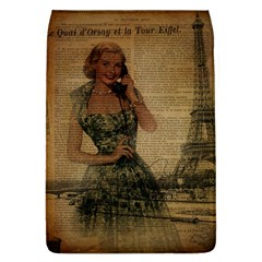 Retro Telephone Lady Vintage Newspaper Print Pin Up Girl Paris Eiffel Tower Removable Flap Cover (large) by chicelegantboutique