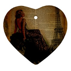 Elegant Evening Gown Lady Vintage Newspaper Print Pin Up Girl Paris Eiffel Tower Heart Ornament by chicelegantboutique