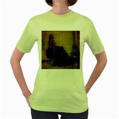 Elegant Evening Gown Lady Vintage Newspaper Print Pin Up Girl Paris Eiffel Tower Womens  T Shirt (green) by chicelegantboutique