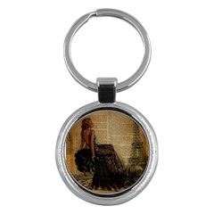 Elegant Evening Gown Lady Vintage Newspaper Print Pin Up Girl Paris Eiffel Tower Key Chain (round) by chicelegantboutique
